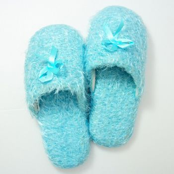 MORINO摩力諾羽毛絨室內拖鞋-水藍色