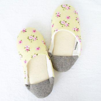 MORINO摩力諾日式踩腳室內拼布拖鞋-黃色