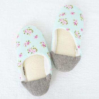 MORINO摩力諾日式踩腳室內拼布拖鞋-淺藍色