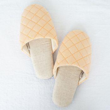 MORINO摩力諾繽紛菱格紋室內拖鞋-橘色