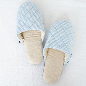 MORINO摩力諾繽紛菱格紋室內拖鞋-水藍