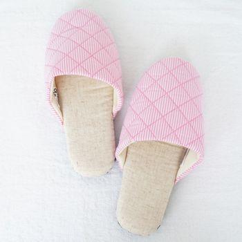 MORINO摩力諾繽紛菱格紋室內拖鞋-粉紅