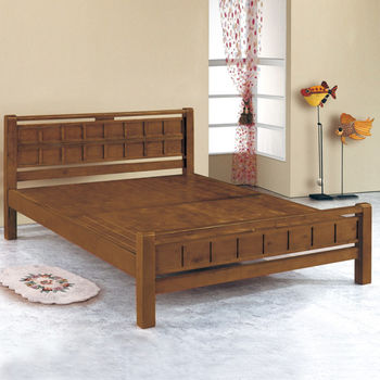 【時尚屋】[G15]方格樟木色5尺雙人床架070-5(床頭+床架)