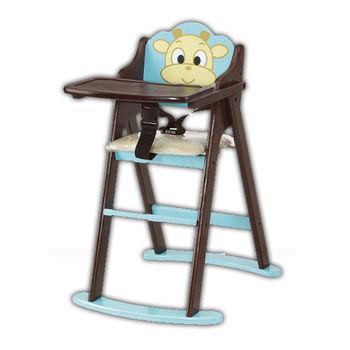 【顛覆設計】卡哇伊小牛折合兒童餐椅(全實木)