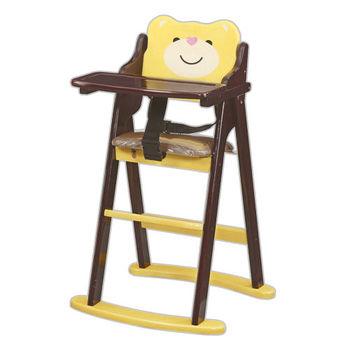 【顛覆設計】卡哇伊小熊折合兒童餐椅(全實木)