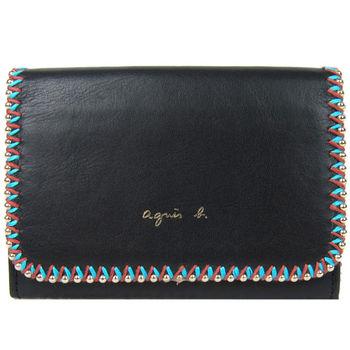 agnes b. 滾珠交錯縫線名片夾(黑)