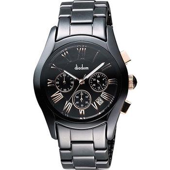 Diadem 黛亞登羅馬三眼計時陶瓷腕錶-黑x玫塊金時標 2D1407-621RG-D