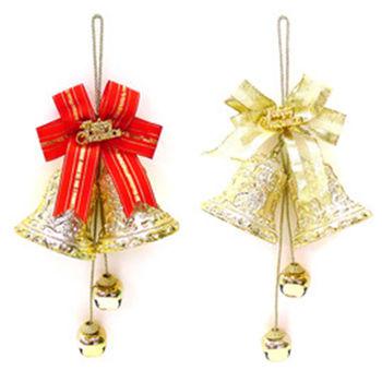 3吋金色雙花鐘鈴鐺串吊飾(一組兩入)