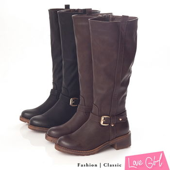 ☆Love Girl☆帥氣軍靴款金屬十字扣拉鍊長靴