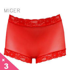 [MIGER密格內衣]薄紗蕾絲中腰平口內褲-紅色+牙白+黃色