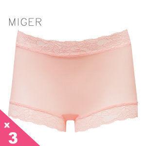 [MIGER密格內衣]薄紗蕾絲中腰平口內褲-柑色+粉色+牙白