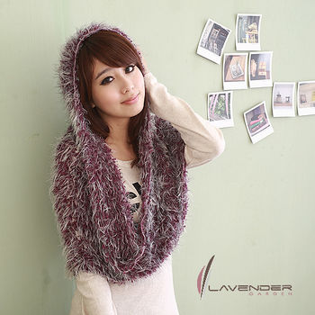 Lavender 百變魔術圍巾-紫銀灰色長短毛(人工貂毛系列)