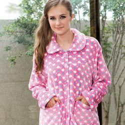 皮爾卡登粉色愛心法蘭絨布居家服