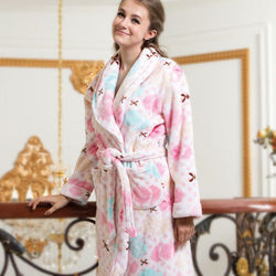 皮爾卡登彩色棉花糖法蘭絨睡袍