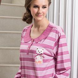 皮爾卡登紫紅條紋熊寶貝居家服