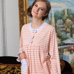 皮爾卡登粉橘條紋暖暖居家睡衣褲