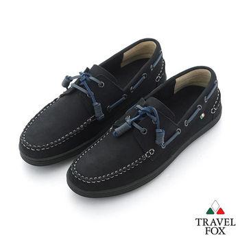 Travel Fox(男) STYLE-風格流行 素面反毛牛皮帆船鞋 - 黑