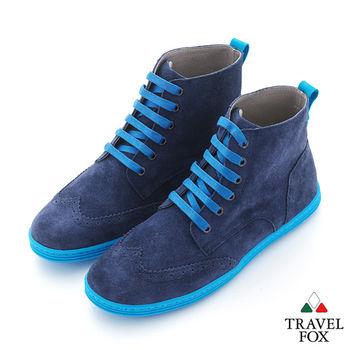 Travel Fox(男) STYLE-風格流行 撞線調 反毛牛津高筒靴 - 藍線藍
