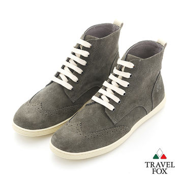 Travel Fox(男) STYLE-風格流行 撞線調 反毛牛津高筒靴 - 白線灰