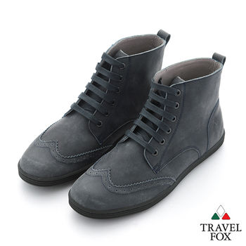 Travel Fox(男) STYLE-風格流行 牛津調 皮面高筒休閒靴 - 深灰黑