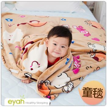 【eyah】俏皮天使熊-咖啡 頂級超舒柔雙面雪貂絨童毯/嬰幼兒毯