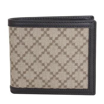 GUCCI-菱格紋PVC六卡短夾(黑邊)