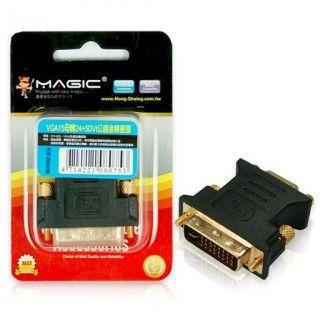 【MAGIC】 VGA 15母 轉 DVI-I 24+5公 轉接頭(24K鍍金)