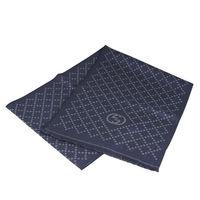 GUCCI GG LOGO格紋羊毛圍巾 ^#40 深藍 ^#41