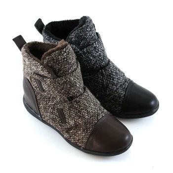 【Pretty】率性暖冬混織毛線拼接魔鬼氈休閒鞋-咖啡色、黑色