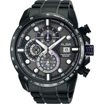 ALBA SignA 銀河爭霸三眼計時腕錶-灰x黑  VK67-X007SD(AV6037X1)