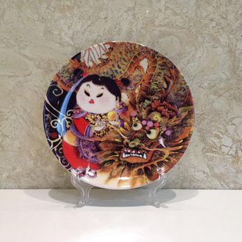 【青花皇后楊莉莉】典藏瓷盤畫-龍女圖7吋