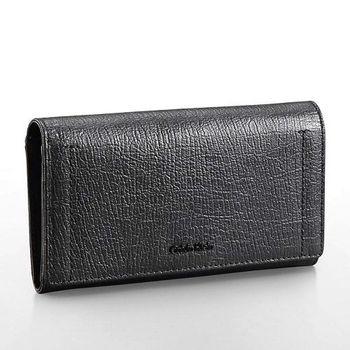 【Calvin Klein】2015女時尚紋理瓣蓋黑色信封皮夾包(預購)