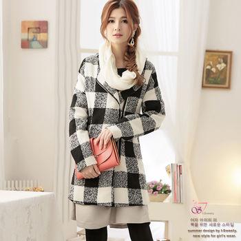 【I-Sweety中大碼】3614小香毛呢韓系暖暖大衣外套(黑白格)
