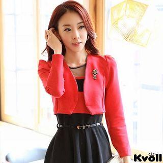 【KVOLL大尺碼】紅色小外套+黑色連衣裙二件式
