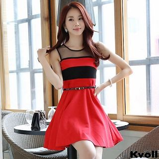 【KVOLL大尺碼】紅色圓領透膚撞色背心洋裝