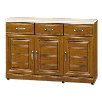 【顛覆設計】達雷爾樟木色實木4尺石面餐櫃