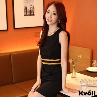 【KVOLL大尺碼】黑色顯瘦包臀配色背心連衣裙