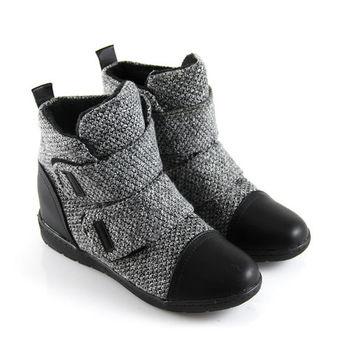 【Pretty】率性暖冬混織毛線拼接魔鬼氈休閒鞋-灰色