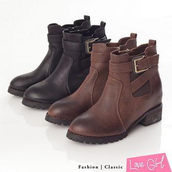 ☆Love Girl☆復古擦色鬆緊帶交叉扣環內增高短靴