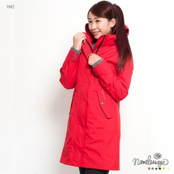 日本namelessage無名世代女款長版防水風衣(深灰/紅)_42W11