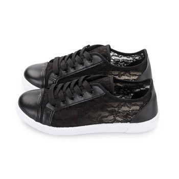 FUFA 透視蕾絲拼接休閒鞋(J40) - 黑色