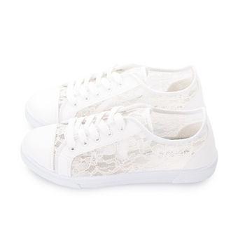 FUFA 透視蕾絲拼接休閒鞋(J40) - 白色