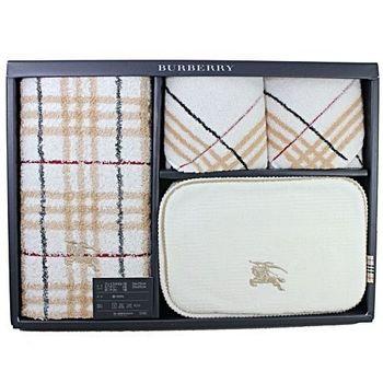 BURBERRY 戰馬化妝包毛巾禮盒(駝色)