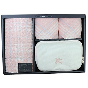 BURBERRY 戰馬化妝包毛巾禮盒(粉色)
