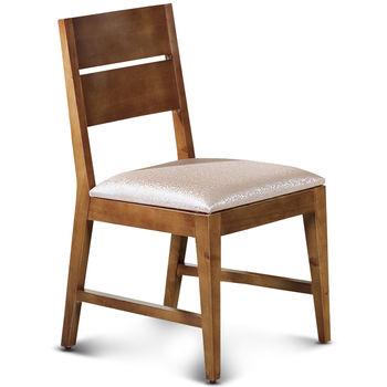 【椅吧】歐風樸質柚木色實木皮面餐椅