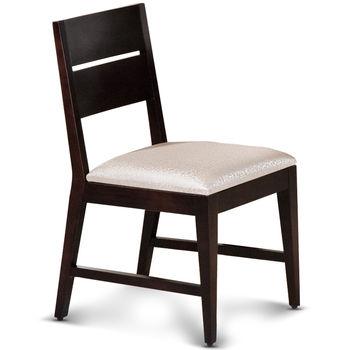 【椅吧】歐風樸質胡桃色實木皮面餐椅