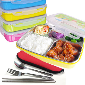 馬卡龍粉彩多格保鮮餐盤加餐具超值4件組