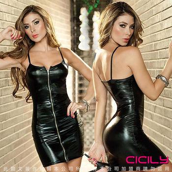 虐戀精品CICILY-挑起性欲 塗膠仿皮 前開拉鍊 性感彈力緊身裙-黑
