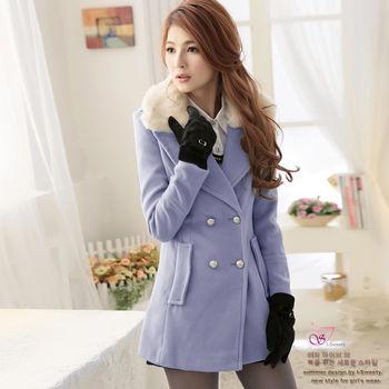 【I-Sweety中大碼】 3615甜美個性暖暖毛呢大衣外套(淺藍色)