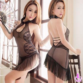 薇珍妮  性感黑露背薄紗旗袍角色扮演服#黑